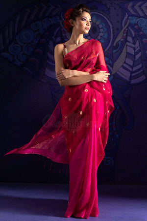 Fuchsia Matka Silk Saree With Zari Butta