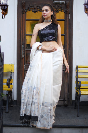 White Matka Silk Saree With Floral Weave