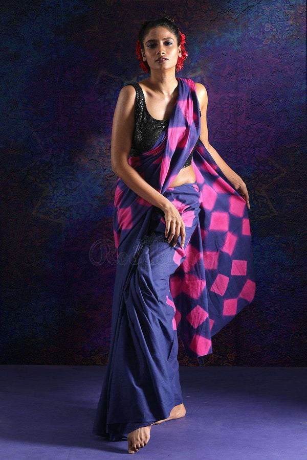 Blue And Pink Cotton Saree With Tie-Dye