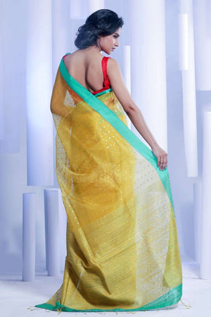 Yellow Matka Silk Saree With Sequin Kriti Classics Roopkatha - A Story of Art
