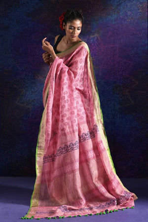 Pink Linen Saree With Digital Print Earthen Collection Roopkatha - A Story of Art
