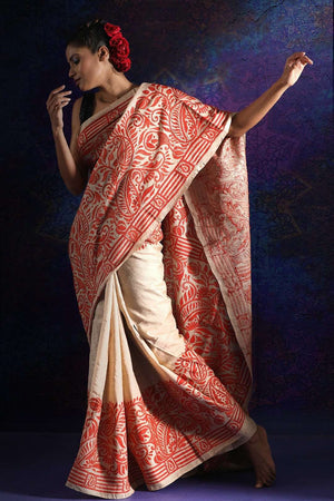 Beige Tusser Silk Saree With Orange Kantha Stitch Kriti Classics Roopkatha - A Story of Art