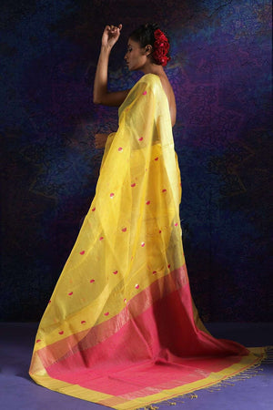 Yellow Matka Silk Saree With Red Butta Kriti Classics Roopkatha - A Story of Art