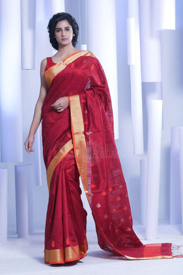Dark Red Matka Silk Saree With Zari Butta Kriti Classics Roopkatha - A Story of Art