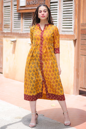 Yellow Ochre Dualtone Printed Dress