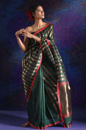 Green Blended Cotton Saree With Zari
