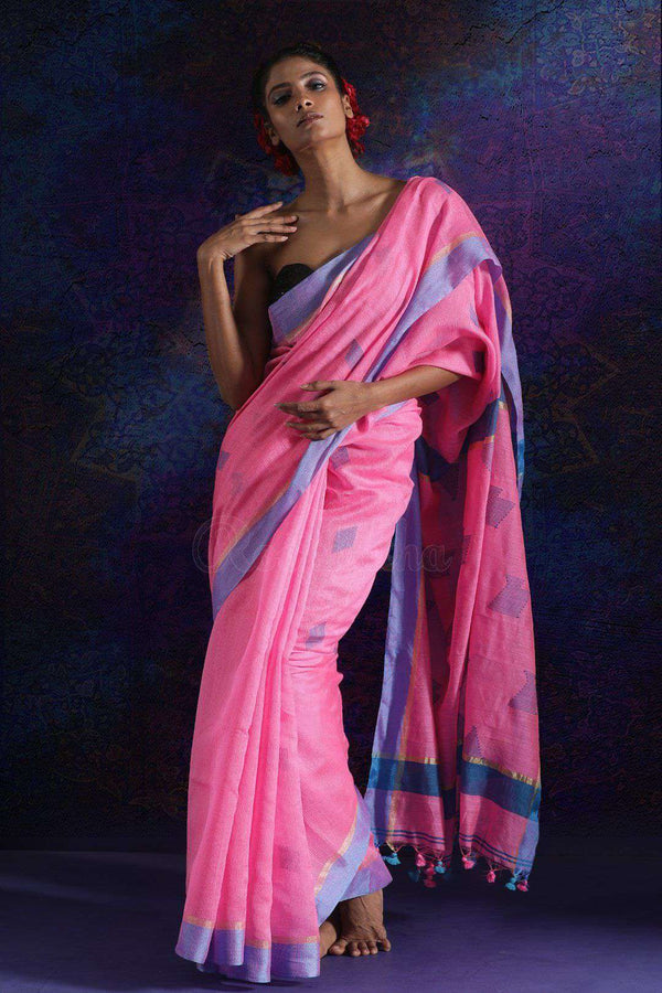Pink Blended Cotton Saree With Blue Border