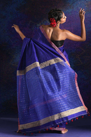Blue Blended Cotton Saree With Sequins