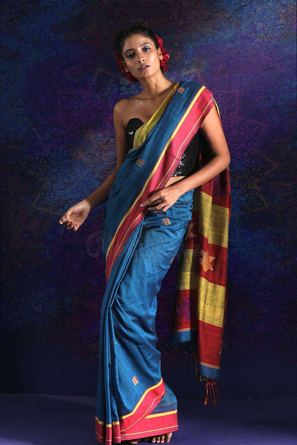 Blue Pure Cotton Saree With Woven Border