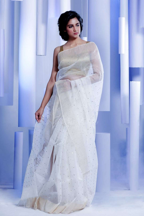 White Matka Silk Saree With Zari Butta