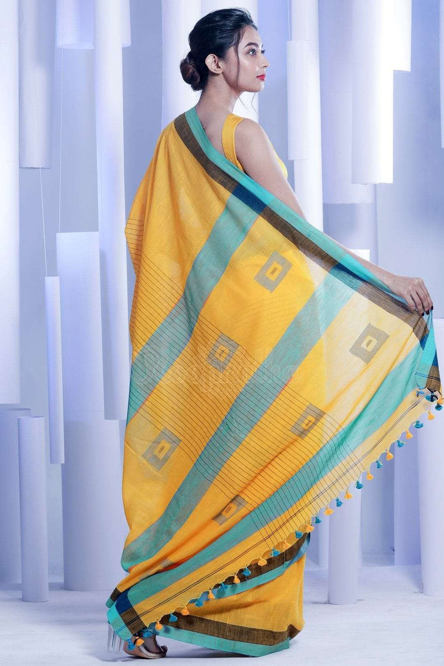 Sunset Yellow Pure Cotton Saree With Dual Border Cotton Threads Of India Roopkatha - A Story of Art