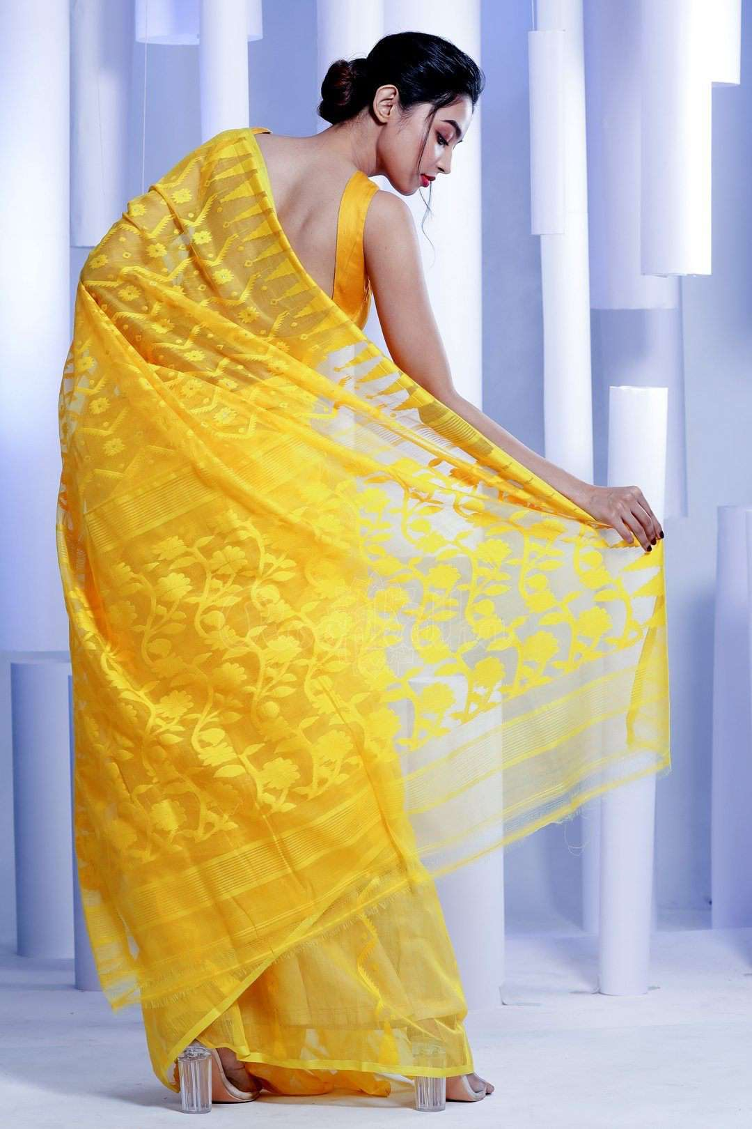 1095eca214 Yellow Jamdani Saree With Thread Work Jamdani Weave Roopkatha - A Story of  Art