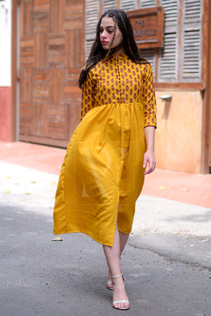 Ochre Yellow Dress With Printed Yoke