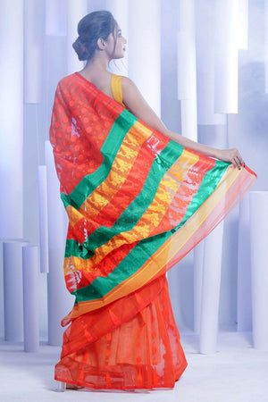 Candy Orange Jamdani Saree With Multicolor Pallu