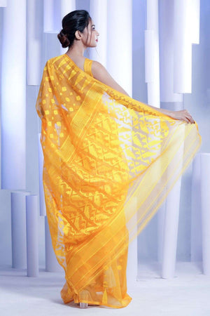 Yellow Jamdani Saree With Thread Weave Jamdani Weave Roopkatha - A Story of Art