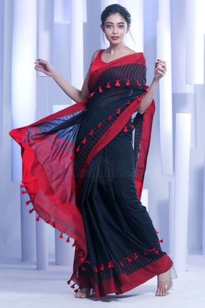 Black Pure Cotton Saree With Red Pompom