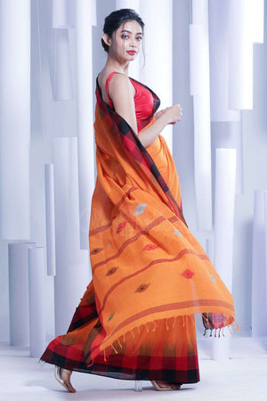 Tangerine Orange Pure Cotton Saree With Woven Design Cotton Threads Of India Roopkatha - A Story of Art