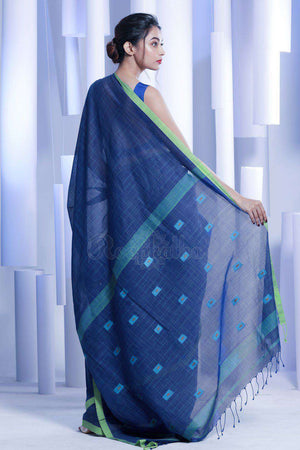 Blue Pure Cotton Saree With Green Border