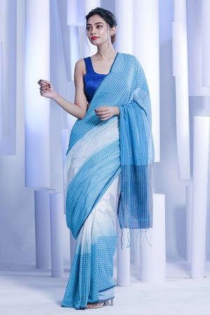 White Pure Cotton Saree With Blue Border Cotton Threads Of India Roopkatha - A Story of Art