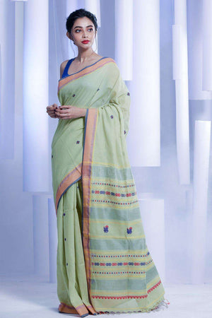 Pale Green Pure Cotton Saree With Woven Pallu