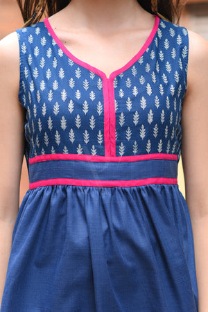 Deep Blue Printed Kurta With Palazzo