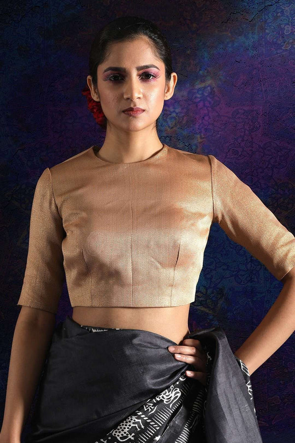 Gold Tissue Blouse With Tussel Blouse Roopkatha - A Story of Art