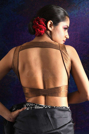 Copper Dupion Sleeveless Blouse Blouse Roopkatha - A Story of Art