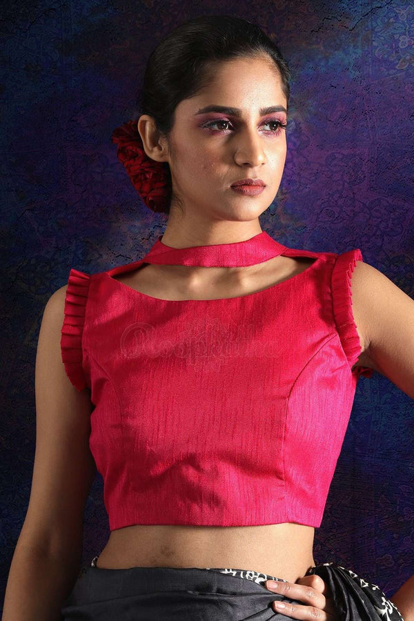 Pink Sleeveless Dupion Blouse With Frills Blouse Roopkatha - A Story of Art