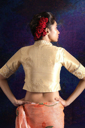 Gold Dupion And Brocade Blouse With Collar Blouse Roopkatha - A Story of Art