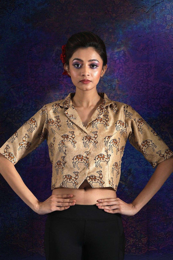 Beige Camel Printed Silk Blouse With Collar Blouse Roopkatha - A Story of Art