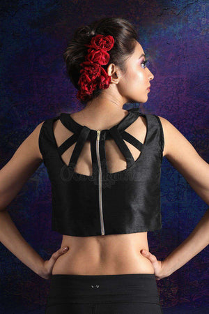 Black Sleeveless Dupion Blouse Blouse Roopkatha - A Story of Art