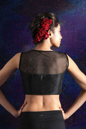 Black Sleeveless Dupion Blouse With Sequins Blouse Roopkatha - A Story of Art