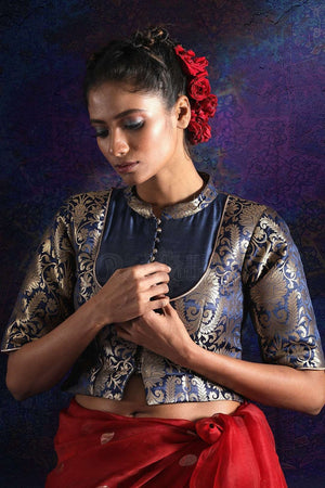 Navy Blue Brocade And Dupion Blouse With Zari Blouse Roopkatha - A Story of Art