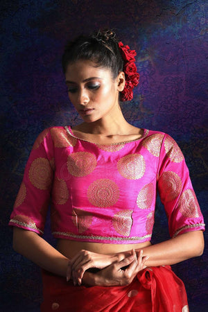 Pink Brocade Blouse With Zari Blouse Roopkatha - A Story of Art