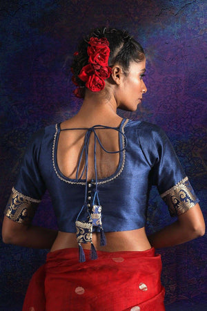 Navy Blue Dupion And Brocade Blouse With Zari Blouse Roopkatha - A Story of Art