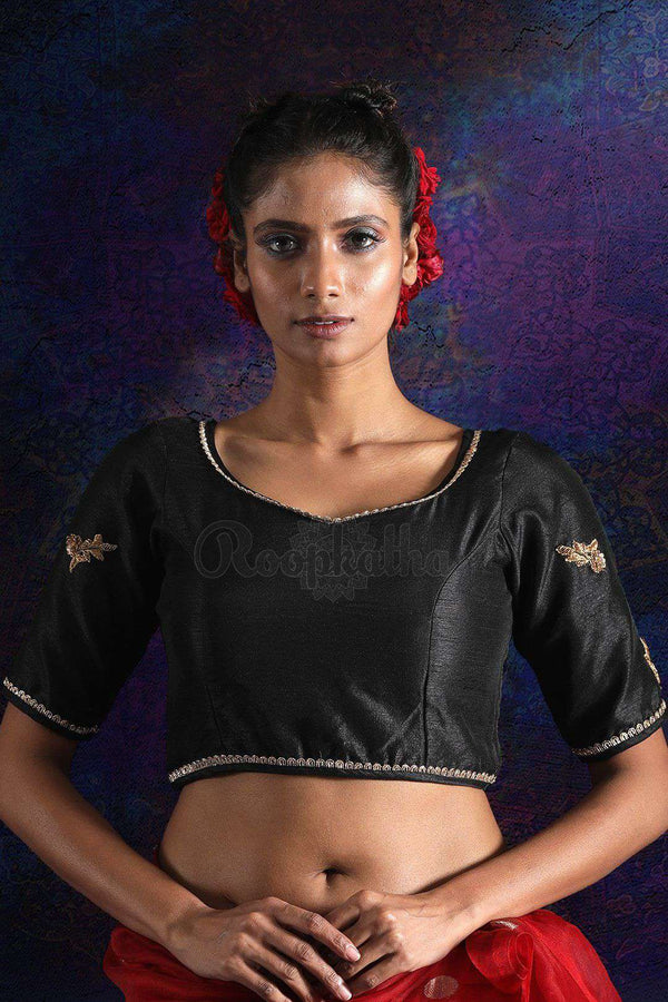 Black Dupion Blouse With Hand Embroidery
