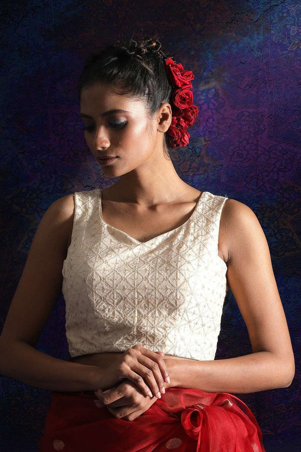Off White Dupion Blouse With Back Tie Blouse Roopkatha - A Story of Art