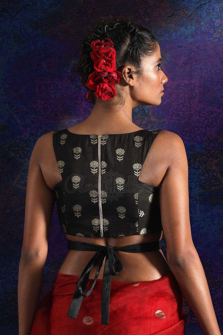 Black Silk Brocade Blouse With Back-Tie