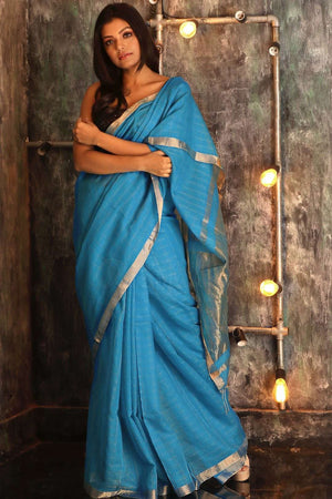 Blue Pure Cotton Saree With Zari Cotton Threads Of India Roopkatha - A Story of Art