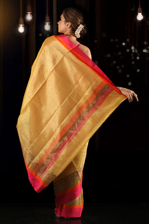 Yellow Cotton Tissue Saree With Dual Borders
