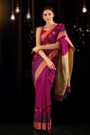 Magenta Blended Cotton Saree With Woven Designs