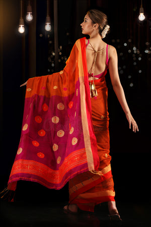 Orange Blended Cotton Saree With Woven Motifs