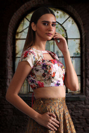 Digital Printed Muslin Blouse With Back open Blouse Roopkatha - A Story of Art