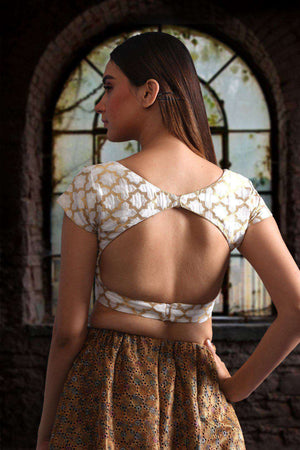 Chanderi Blouse With Mughal Motifs Blouse Roopkatha - A Story of Art