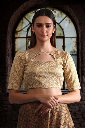 Beige Brocade Blouse Blouse Roopkatha - A Story of Art