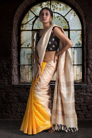 Beige & Yellow Tusser Gheecha Silk Saree With Zari Border Kriti Classics Roopkatha - A Story of Art
