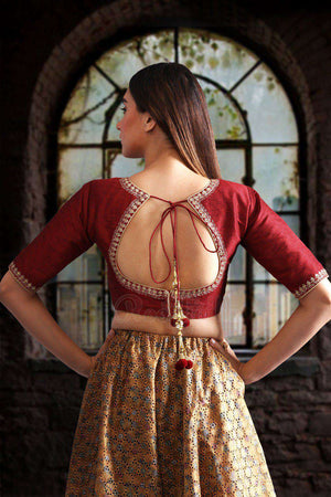 Maroon Dupion Blouse With Golden Zari Embroidery Blouse Roopkatha - A Story of Art