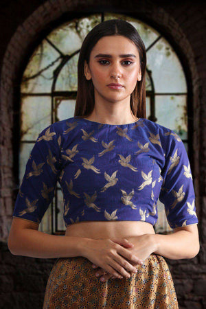Pure Chanderi Blouse with Bird Motifs Blouse Roopkatha - A Story of Art