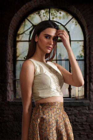 Beige Sleeveless Zari Embroidered Blouse Blouse Roopkatha - A Story of Art