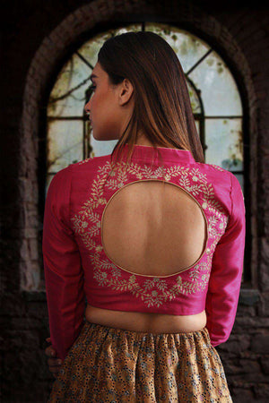 Fuchsia Full Sleeve Zari Embroidered Blouse Blouse Roopkatha - A Story of Art